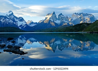 The Paine Massif and Los Cuernos reflected in Pehoe Lake, Torres del Paine National Park, Patagonia, Chile