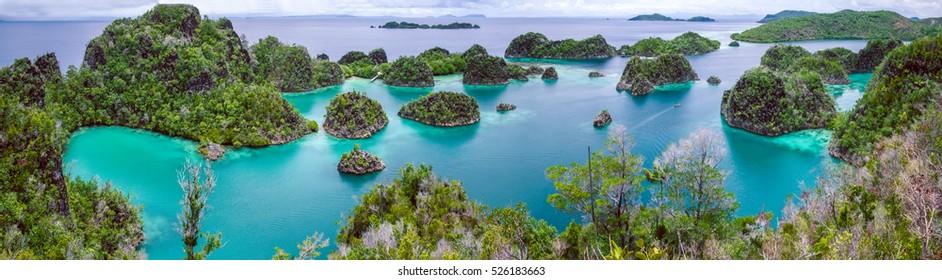 Painemo Island, Blue Lagoon, Raja Ampat, West Papua Indonesia, banner.