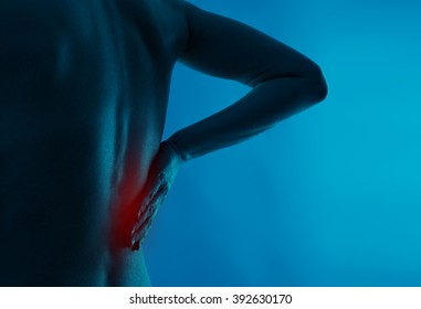Painful back on human body. Medical and health care concept.