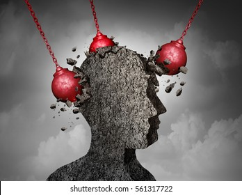 Painful Headache pain and pounding migraine concept as a human head made of cement being destroyed or renovated by a group of wrecking balls as a symbol for personal change as a 3D illustration.