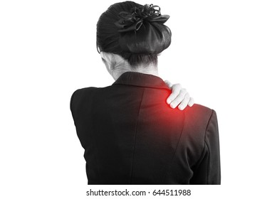 Painful shoulder in a businesswoman isolated on white background. Clipping path on white background