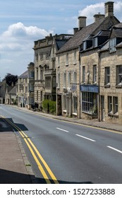 Painswick, Gloucestershire / England - July 7 2019: A view along Stroud Road / New Street / A46
