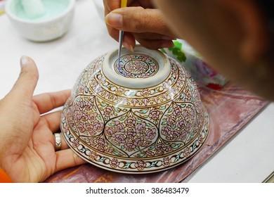 Paint Benjarong porcelain