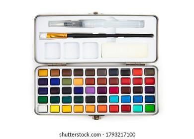 Paint Box with Brushpen isolated on white background