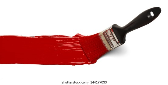 Paint Brush Stroke Across Page Isolated on White Background.