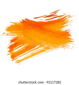 paint brush stroke texture orange watercolor spot blotch isolated
