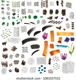 Paint brush strokes for decoration template, cover page design ,background, pattern, backdrop, wallpaper, texture. Flower, grass, and leaves elements. - Shutterstock ID 1081037552
