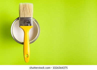 Paint Brush Top View On green Background.