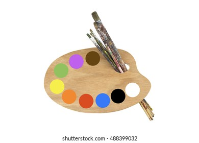 Paint brushes colors and pallet isolated on white background.