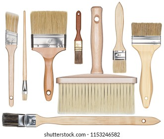 Paint brushes isolated on white