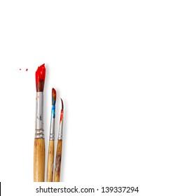 paint brushes isolated on white background