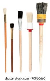 Paint brushes isolated on the white background, set