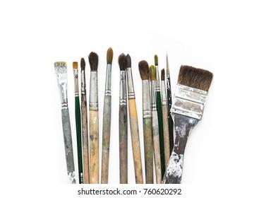 Paint brushes isolated on white. Art image