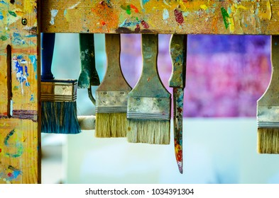 Paint Brushes and paint knife in Artist Space
