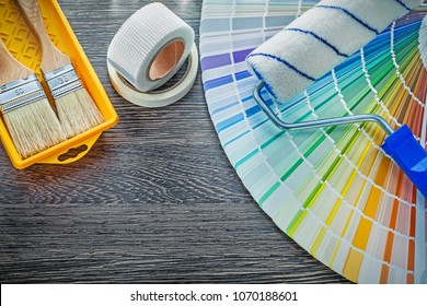 Paint brushes roller tray color pantone fan household tape