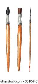 Paint brushes. Set of brushes. Watercolor illustration on white background
