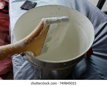 Paint bucket. brush