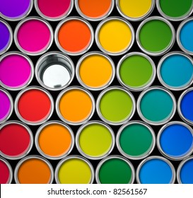 Paint can color palette, top view, one empty can