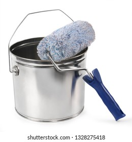 Paint can and roller brushes on white background.