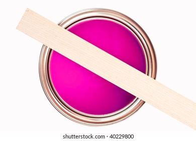 Paint can with stir wood isolated on white background