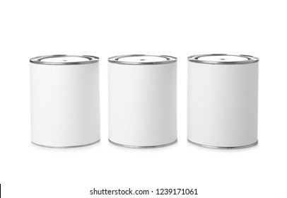 Paint cans on white background. Mockup for design