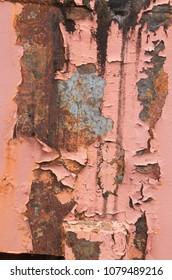 Paint chips peeling away from steel pipes in a former Steel Mill in Birmingham,Alabama