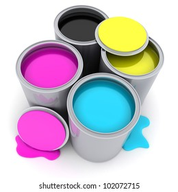 Paint CMYK on white background (done in 3d)