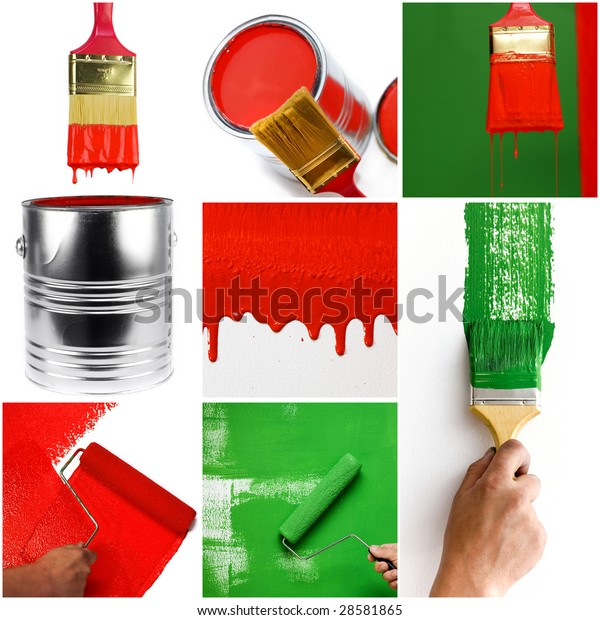 paint collage building interior nails hand wall home paint red brush paintbrush house wet indoor construction living drop mansion residence collage fingers drip improvement designer housing frame dye