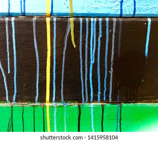 Paint drip abstract background in black, blue, green and yellow