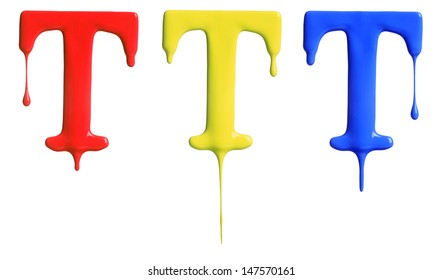 Paint dripping alphabet with 3 different variations in red, yellow, and blue