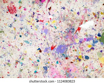Paint drops stains on a paint protection sheet rug. Painting abstract background and texture.