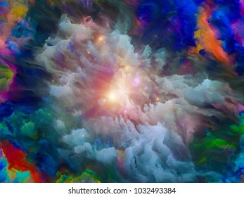 Paint Explosion series. Backdrop of colorful fractal paint burst and lights on the subject of creativity, imagination, spirituality and art