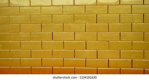 Paint Gold Color On Brick Wall Stock Photo (Royalty Free) 1104182630 ...