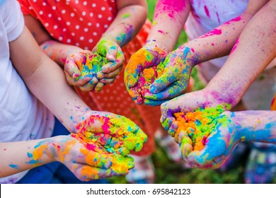 Paint holi on the hands