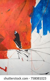 Paint on Gather Canvas: Abstract Art with Orange, Blue and White Hues - Background.