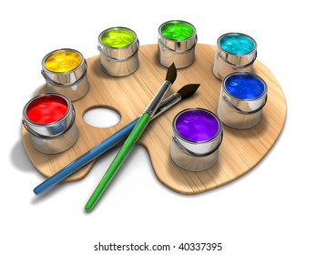 Paint palette with paint cans and brushes - 3d render