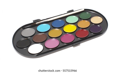 Paint palette on white background