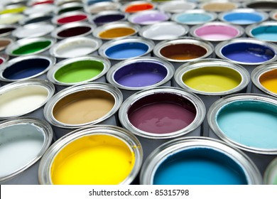 Paint pots in assorted colors