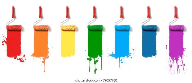 Paint roller brush set. Seven colors paint rollers
