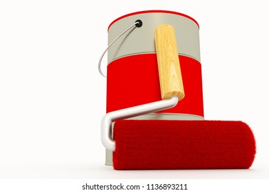 Paint roller with paint bucket, 3d-illustration