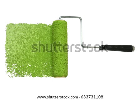 paint roller with green paint isolated over white background