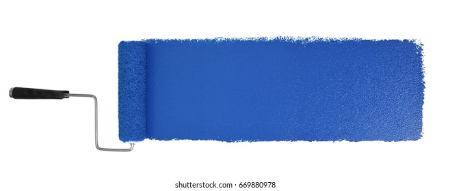 Paint roller with long blue stroke isolated over white - Stitched from two images