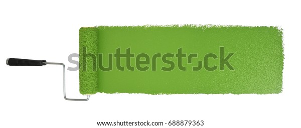 Paint roller with long green stroke isolated over white - Stitched from two images