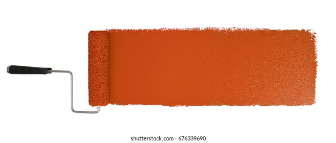 Paint roller with long orange stroke isolated over white - Stitched from two images