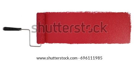 Paint roller with long red stroke isolated over white - Stitched from two images