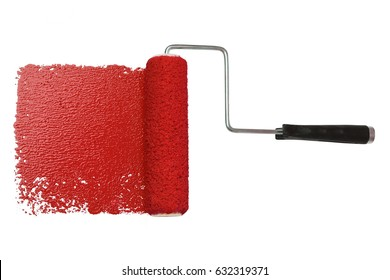 paint roller with red paint isolated over white background