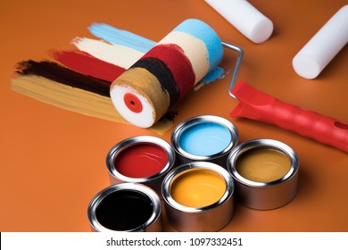 Paint roller, Tin metal cans with color