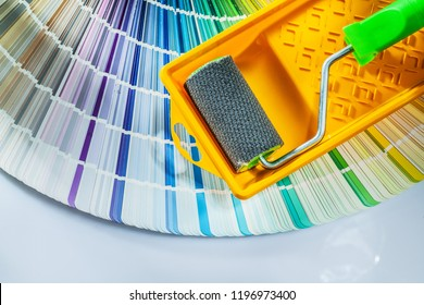 Paint roller tray pantone fan on white background.