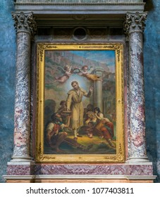 Paint with Saint Benedict Joseph Labre,  in the Church of Santa Maria ai Monti, in Rome, Italy. April-08-2018