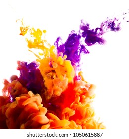 paint stream in water, colored ink cloud, abstract background,process of mixing orange and purple paint on white isolated background